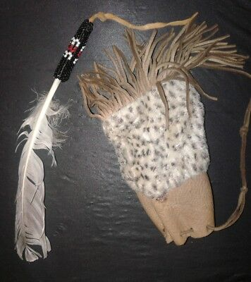 Handmade Stitched Leather Native American Pouch with White Feather Beaded Charm