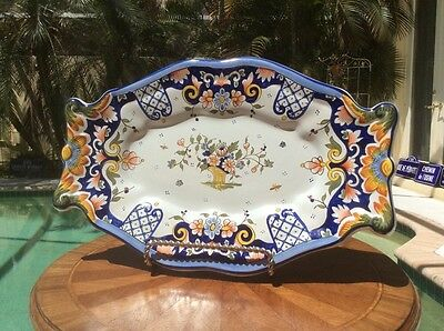 Gorgeous Antique Rouen Decor French Faience Wall Platter, ff589  GIFT QUALITY!!