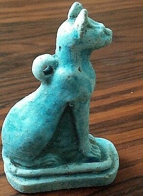 RARE ANCIENT EGYPTIAN FAIENCE CAT amulet  (600–300) BC