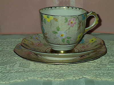 """Tuscan Plant """"Pale pink Floral"""" bone china cup,saucer, plate trio"""