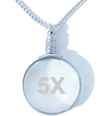 ... 5x Silver Magnifying Glass Necklace Pendant Magnifier with 30 Matching Chain