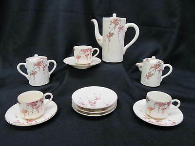 15pc Vintage Satsuma CHERRY BLOSSOM Cup, Saucer, Creamer, Sugar, Coffee Pot Set