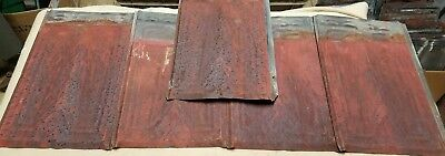 5 Vintage tin Barn Roof Shingle Tile, 9x14 in