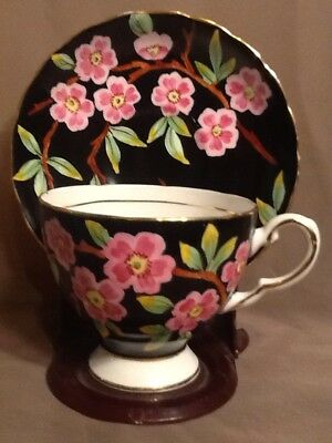 TUSCAN Bone China Tea Cup and Saucer Black with Pink Flower