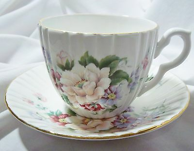 Vintage Royal Sutherland Hm Fine Bone China Cup And Saucer. Flowers Mint