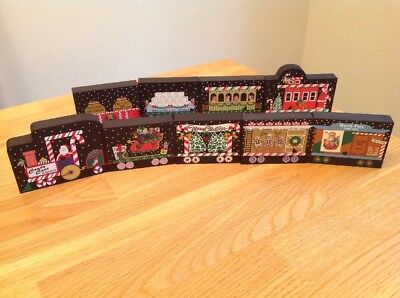 Cat's Meow CANDY CANE EXPRESS Train Engine Cars Caboose  2001 2002 2003 9pieces