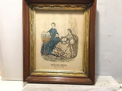 antique deep dish or shadow box frame, Godey fashion print, 8 by10inches # 1198