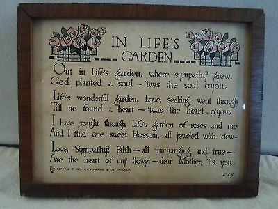 decorative wood picture frame,poem-In Life's Garden, 4 X  5 1/4 inches, # 1027
