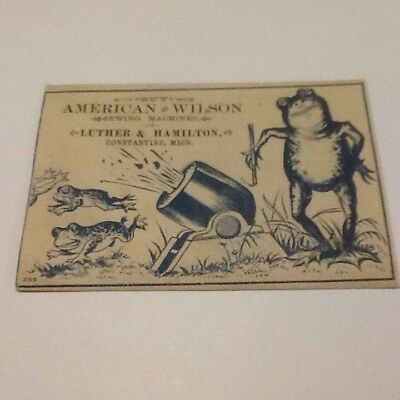 Vintage Trade Card American & Wilson Sewing Machines Of Luther & Hamilton