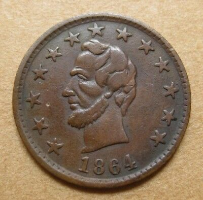 1864 Patriotic Civil War Token - Fuld 127/248a VF - Lincoln / OK within a Chain