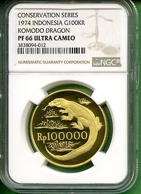1974  Indonesia Gold  Rp100000   Ngc Pf 66 Ultra Cameo   Komodo Dragon