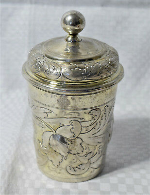 17th century German silver beaker with cover, Augsburg