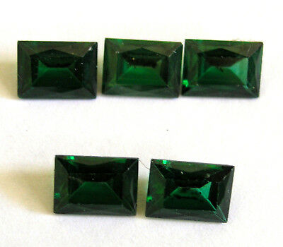 5 Synthetic / Man Made Emeralds- Loose Gems
