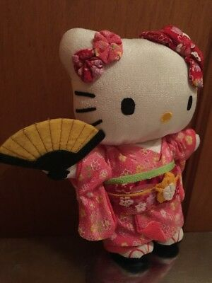Rare Premium Plush Sanrio Hello Kitty Geisha Fan Pink Kimono Japan Limited '12