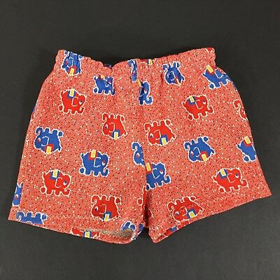 VINTAGE 60s 70s Carters Summer Shorts Red Blue Elephant Toddler Size 18 Mos.