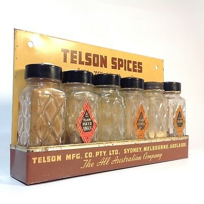 Vintage TELSON SPICES Advertising Spice Rack
