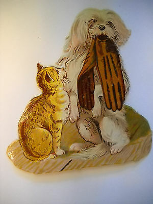CAT WATCHES DOG HOLD GLOVES Victorian DIE-CUT from scrapbook CHROMOLITHOGRAPH