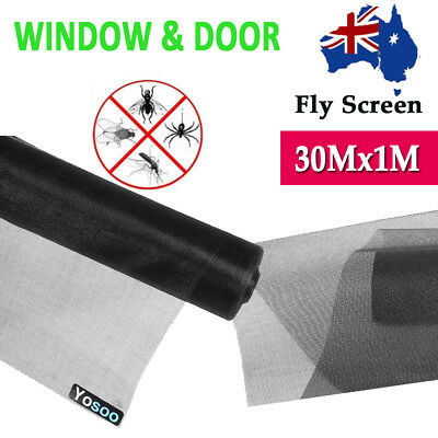Black 100ft 30m Roll Insect Flywire Window Fly Screen PVC Net Mesh Screen AU