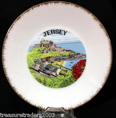 ♡ Jersey Souvenir Side Plate Nice Graphic & Brushed Gold Border