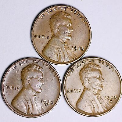 1935 + 1935-D + 1935-S  Lincoln Wheat Cents LOWEST PRICES ON THE BAY! FREE S/H