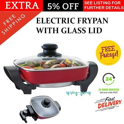 Small Electric Frypan with Glass Lid Portable Compact Caravan Travel Cooking