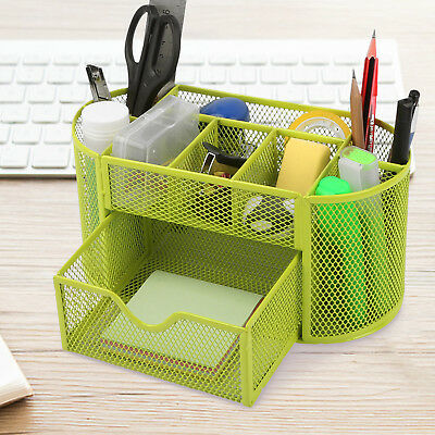 GREEN Desk Organizer Mesh Metal Desktop Office Pen Pencil Holder Storage Tray