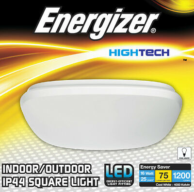 Energizer Square LED Flush Bathroom Ceiling Light Fitting IP44 Rated Zone 1 2 3