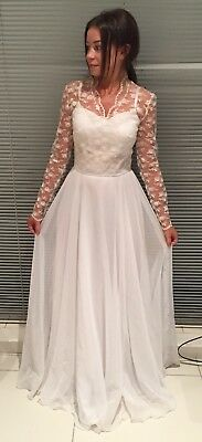 Vintage 1950's Hand Made French Lace Sweetheart Wedding Gown Aus Size 4 / 6
