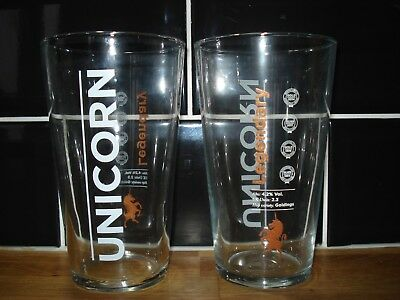 2x Robinsons Brewery Saints Gold Pint Glasses Ce Stamped St Helens Rugby Pub