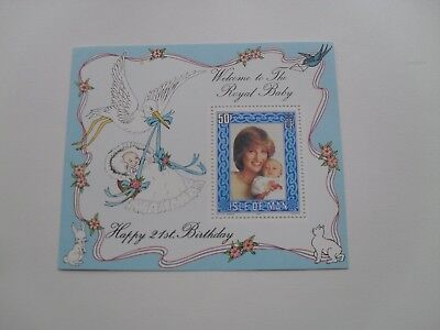 Isle Of Man Gb Qe11 1982 Miniature Sheet Diana 21St Birthday With Royal Baby Mnh