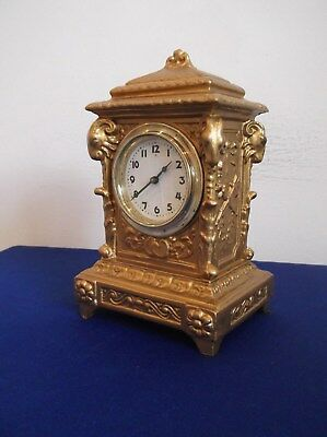 Gold Coloured Carraige Clock, Working But Selling As Needing Looking At +
