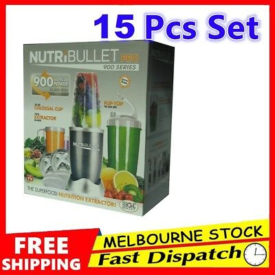 Nutribullet Pro 900W Juicer Mixer Vegetable Blender Extractor 15 Pieces Set New