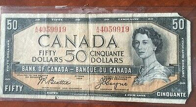Beautiful 1954 Bank Of Canada $50 Note Canadian Bill Rare Currency Paper Money