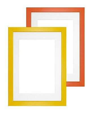 Premium Wood Picture Photo Frame Rainbow Range With Bespoke Mount Yellow /Orange