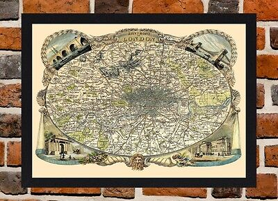 Framed Victorian Map Of London Circa 1830 A4 Size Mounted In Black Frame