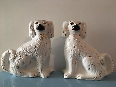 Antique Staffordshire Glazed Ceramic dogs