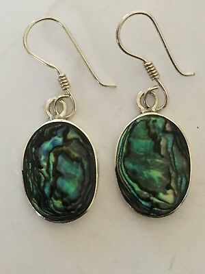 Vintage Solid Silver 925 Drop Earrings With Coloured Inlays