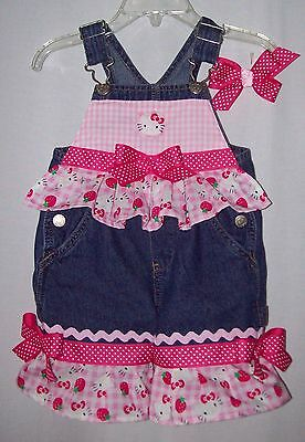 Custom boutique Hello Kitty overalls infant to size 5