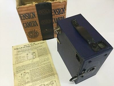 BLUE ENSIGN E29 Antique / Vintage Box Camera - In Original Box & Instructions