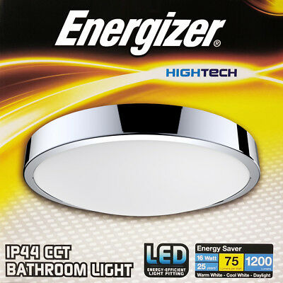 Energizer CCT LED Flush Bathroom Ceiling Light Fitting IP44 Rated Zone 1 2 and 3