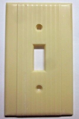 Vintage Art Deco Classic Peco Ribbed Dark Beige Bakelite Switch Wall Plate Cover