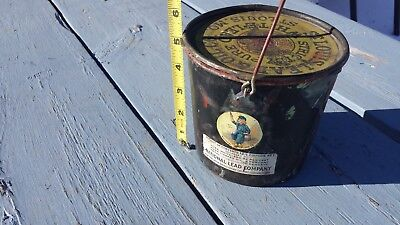 National Lead Co. Paint Metal Bucket Can Antique Advertising Farm House Decor