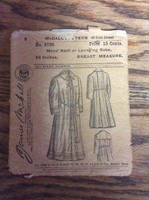 Antique Vintage McCall Early Sewing Pattern #8798 Men's bathrobe Lounging 36