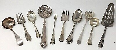 Silver plated silverware Assorted Service pieces Lot 10 ANTIQUE to VINTAGE