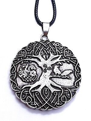 Tree of Life Pendant Yggdrasil Huginn Muninn Raven Triskelion Corded Necklace