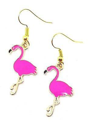 Flamingo Bird Earrings Enamel Tropical Hawaiian Rockabilly Cute