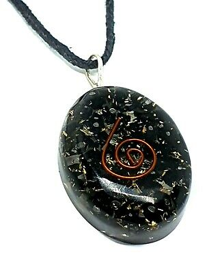 Orgone Black Tourmaline Orgonite Pendant Schorl Reiki Protective Necklace Real