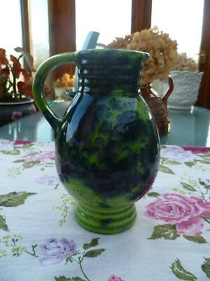 Vintage West German Fat Lava Marei Keramik Jug Vase Green Blue Purple 7301