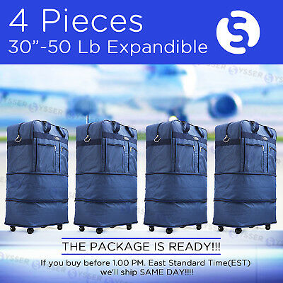 "Pack of 4, 30"" Blue Wheeled Duffel Bags Large Rolling Spinner Suitcase Luggage"