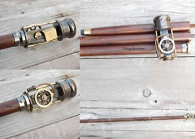 Antique Working Brass Steam Engine Handle Wooden Walking Stick Cane 36 Inch Gift